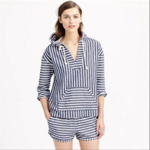 J. Crew Baja Striped Hoodie Beach Coverup